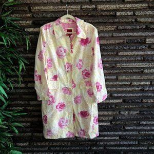Esprit Pink Cabbage Roses Rain Coat Jacket